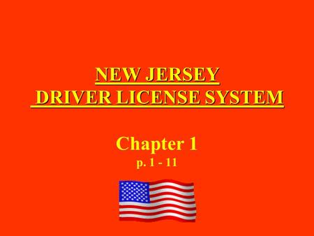 NEW JERSEY DRIVER LICENSE SYSTEM Chapter 1 p