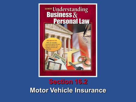 Motor Vehicle Insurance Section 16.2. Understanding Business and Personal Law Motor Vehicle Insurance Section 16.2 Owning a Vehicle What You'll Learn.