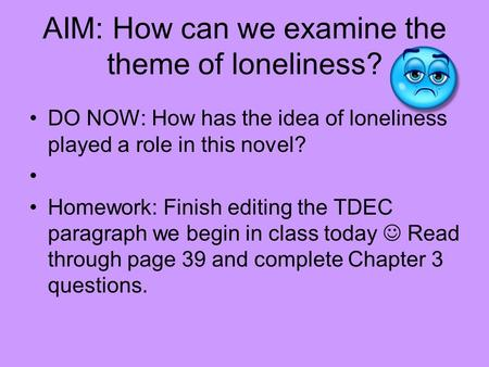 AIM: How can we examine the theme of loneliness? DO NOW: How has the idea of loneliness played a role in this novel? Homework: Finish editing the TDEC.