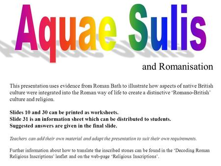 Aquae Sulis and Romanisation