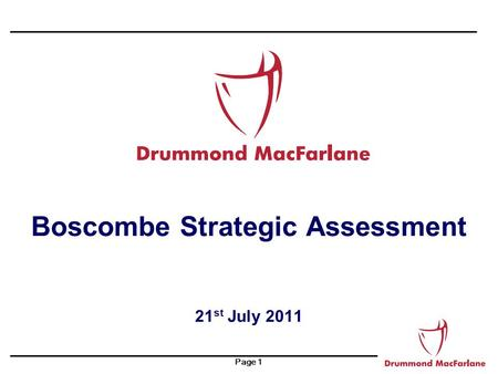 Page 1 Boscombe Strategic Assessment 21 st July 2011.