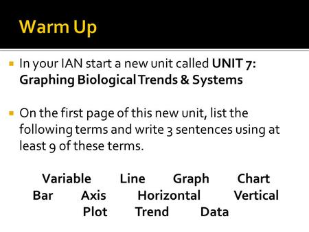  In your IAN start a new unit called UNIT 7: Graphing Biological Trends & Systems  On the first page of this new unit, list the following terms and write.