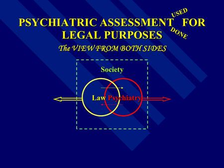 PSYCHIATRIC ASSESSMENT FOR LEGAL PURPOSES The VIEW FROM BOTH SIDES Law Psychiatry Law Psychiatry Society DONE USED.
