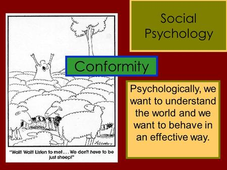 Conformity Social Psychology Psychologically, we want to understand the world and we want to behave in an effective way.