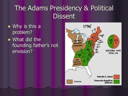 The Adams Presidency & Political Dissent Why is this a problem? Why is this a problem? What did the founding father's not envision? What did the founding.