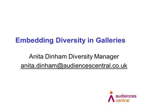 Embedding Diversity in Galleries Anita Dinham Diversity Manager