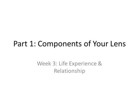 Part 1: Components of Your Lens Week 3: Life Experience & Relationship.