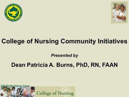 College of Nursing Community Initiatives Presented by Dean Patricia A. Burns, PhD, RN, FAAN.