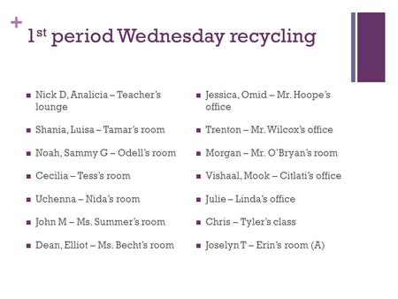 + 1 st period Wednesday recycling Nick D, Analicia – Teacher's lounge Shania, Luisa – Tamar's room Noah, Sammy G – Odell's room Cecilia – Tess's room Uchenna.