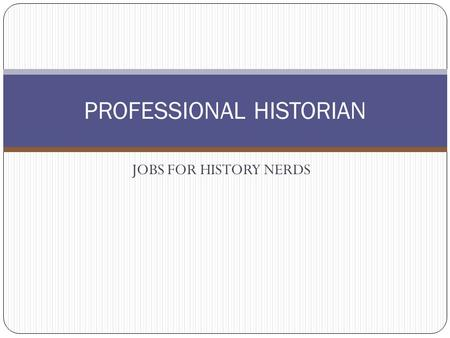 JOBS FOR HISTORY NERDS PROFESSIONAL HISTORIAN. HISTORIAN Someone who is an authority on history and who studies it and writes about it. A writer, student,