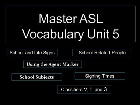 School and Life Signs Using the Agent Marker Classifiers V, 1, and 3 School Subjects Signing Times School Related People.