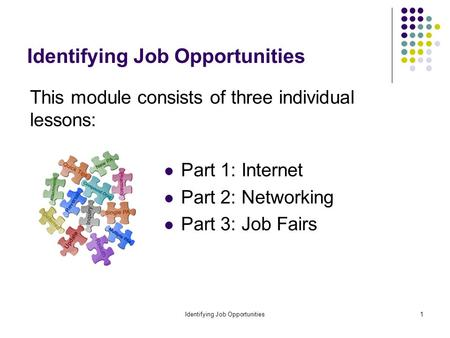 Identifying Job Opportunities1 This module consists of three individual lessons: Part 1: Internet Part 2: Networking Part 3: Job Fairs.