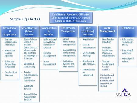 Sample Org Chart #1 Recruitment & Preparation Recruitment & Preparation -Teacher Academies & Internships -Alternative Teacher Pipelines -University Partnerships.