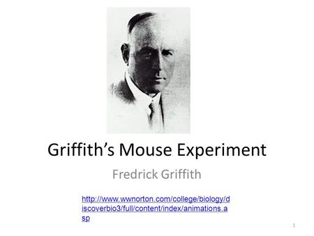 Griffith's Mouse Experiment