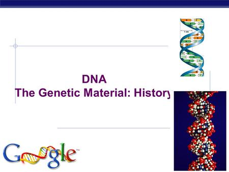 AP Biology 4/21/2015 DNA The Genetic Material: History.