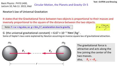 Note: F = w = mg also, so g = Gm1/r2, acceleration due to gravity