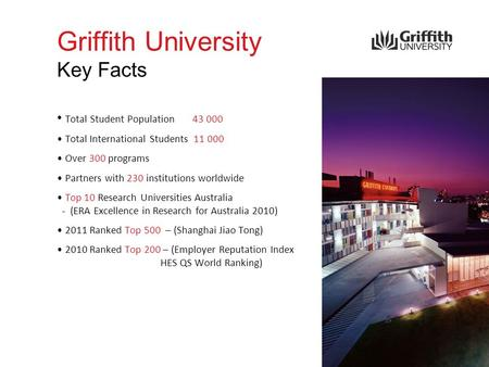 Griffith University Key Facts Total Student Population 43 000 Total International Students 11 000 Over 300 programs Partners with 230 institutions worldwide.