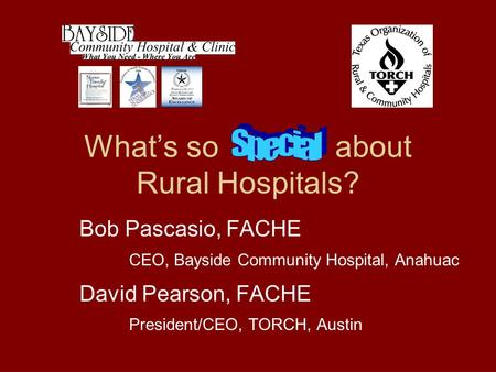 What's so about Rural Hospitals? Bob Pascasio, FACHE CEO, Bayside Community Hospital, Anahuac David Pearson, FACHE President/CEO, TORCH, Austin PO Box.
