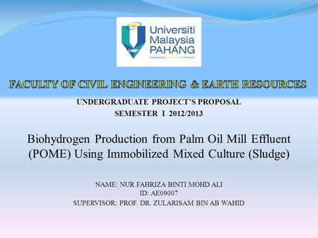 UNDERGRADUATE PROJECT'S PROPOSAL SEMESTER I 2012/2013 Biohydrogen Production from Palm Oil Mill Effluent (POME) Using Immobilized Mixed Culture (Sludge)