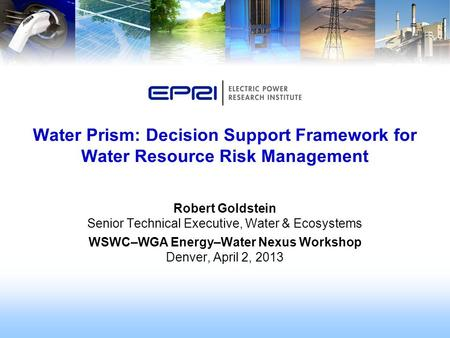Robert Goldstein Senior Technical Executive, Water & Ecosystems WSWC–WGA Energy–Water Nexus Workshop Denver, April 2, 2013 Water Prism: Decision Support.