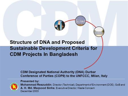 Structure of DNA and Proposed Sustainable Development Criteria for CDM Projects In Bangladesh CDM Designated National Authority (DNA) Durbar Conference.