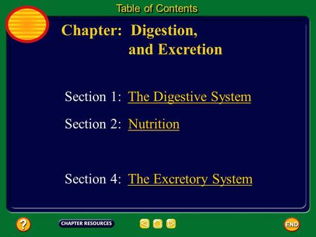 Chapter: Digestion, and Excretion Table of Contents Section 1: The Digestive System Section 2: NutritionNutrition Section 4: The Excretory SystemThe Excretory.