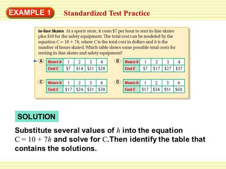 EXAMPLE 1 Standardized Test Practice SOLUTION Substitute several values of h into the equation C = 10 + 7h and solve for C.Then identify the table that.