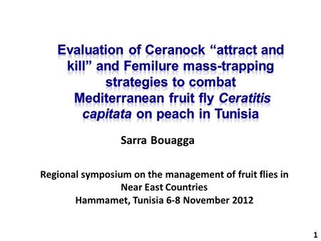 1 Sarra Bouagga Regional symposium on the management of fruit flies in Near East Countries Hammamet, Tunisia 6-8 November 2012.