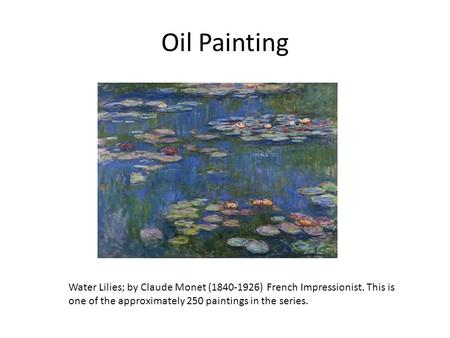 Oil Painting Water Lilies; by Claude Monet (1840-1926) French Impressionist. This is one of the approximately 250 paintings in the series.