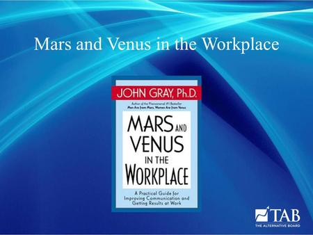 Mars and Venus in the Workplace.  Men and women have different communication styles  Different rules and values are not understood  Leading to incorrect.