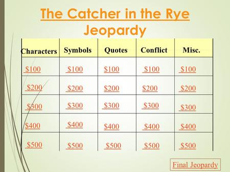 The Catcher in the Rye Jeopardy Characters SymbolsQuotesConflictMisc. $100 $200 $300 $400 $500 $100 $200 $300 $400 $500 Final Jeopardy.