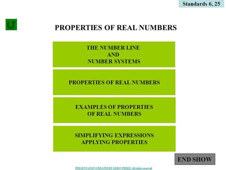 1 THE NUMBER LINE AND NUMBER SYSTEMS Standards 6, 25 PROPERTIES OF REAL NUMBERS EXAMPLES OF PROPERTIES OF REAL NUMBERS SIMPLIFYING EXPRESSIONS APPLYING.