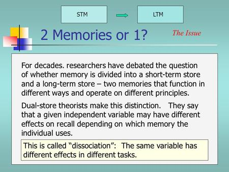 2 Memories or 1? STMLTM For decades. researchers have debated the question of whether memory is divided into a short-term store and a long-term store.