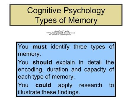 Cognitive Psychology Types of Memory You must identify three types of memory. You should explain in detail the encoding, duration and capacity of each.