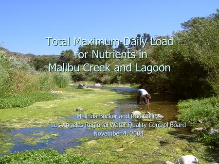 Los Angeles Regional Water Quality Control Board, November 4, 2004 1 Total Maximum Daily Load for Nutrients in Malibu Creek and Lagoon Melinda Becker and.