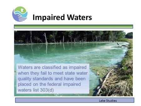 Lake Studies Impaired Waters Waters are classified as impaired when they fail to meet state water quality standards and have been placed on the federal.