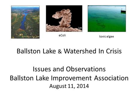 Ballston Lake & Watershed In Crisis Issues and Observations Ballston Lake Improvement Association August 11, 2014 eColi toxic algae.