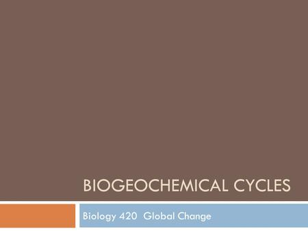 BIOGEOCHEMICAL CYCLES Biology 420 Global Change. Introduction  Remember  Lithosphere  Hydrosphere  Atmosphere  Biosphere  Earth is exposed to cyclic.