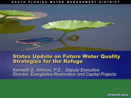 Status Update on Future Water Quality Strategies for the Refuge Kenneth G. Ammon, P.E., Deputy Executive Director, Everglades Restoration and Capital Projects.