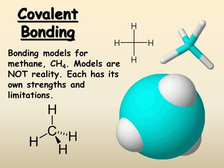 Covalent Bonding Bonding models for methane, CH4. Models are NOT reality. Each has its own strengths and limitations.
