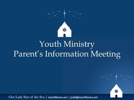 "Youth Ministry Parent's Information Meeting. ""A New Springtime of Evangelization"" Goal: Bringing Teens Closer to Christ and his Church."
