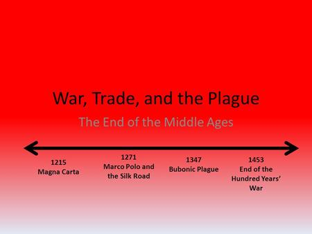 War, Trade, and the Plague The End of the Middle Ages 1215 Magna Carta 1453 End of the Hundred Years' War 1271 Marco Polo and the Silk Road 1347 Bubonic.