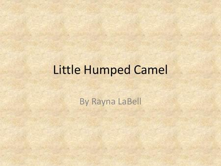 "Little Humped Camel By Rayna LaBell. Once upon a time there was a camel called ""Little Humped Camel"". He was going to his grandmother's house when he."