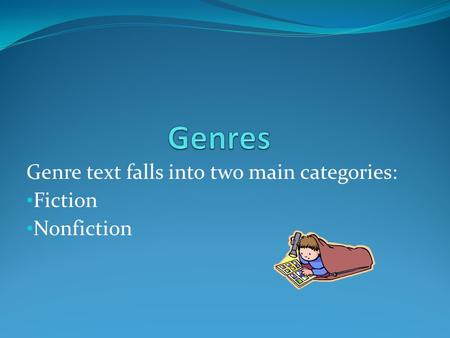 Genre text falls into two main categories: Fiction Nonfiction.