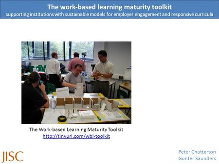 The work-based learning maturity toolkit supporting institutions with sustainable models for employer engagement and responsive curricula Peter Chatterton.