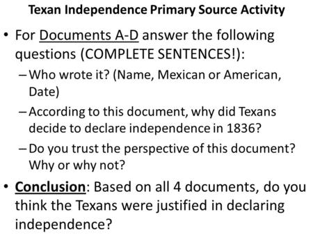 Texan Independence Primary Source Activity