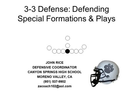 3-3 Defense: Defending Special Formations & Plays