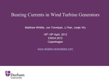 Bearing Currents in Wind Turbine Generators