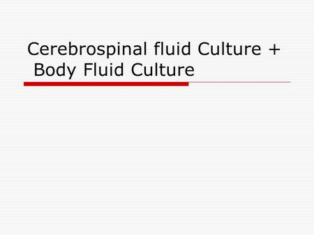 Cerebrospinal fluid Culture + Body Fluid Culture.