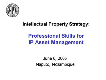 Intellectual Property Strategy: Professional Skills for IP Asset Management June 6, 2005 Maputo, Mozambique.